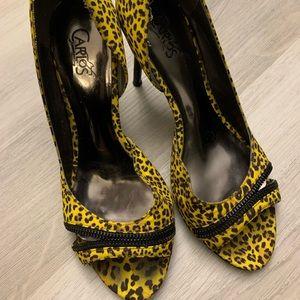 Carlos Santana Yellow Leopard print heels